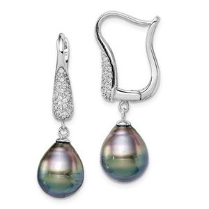 Jewelry - 925 Sterling Silver Black Pearl CZ Earrings